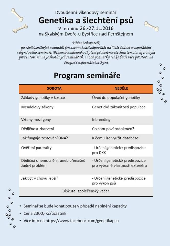Dvoudenni Seminar Genetika A Slechteni Psu Pesweb